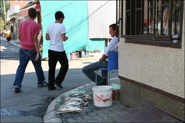 Vente de poissons (frais?) sur un trottoir de Prizren