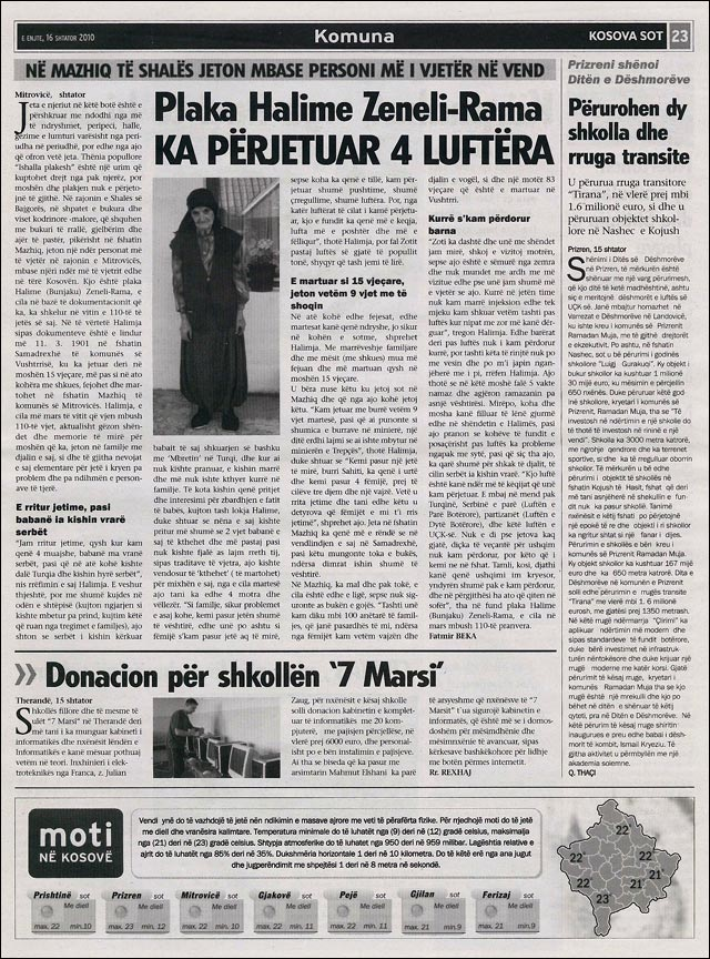 Journal Kosovo Kosova Sot article ecole primaire 7 Marsi Julien ZAUG jzaug