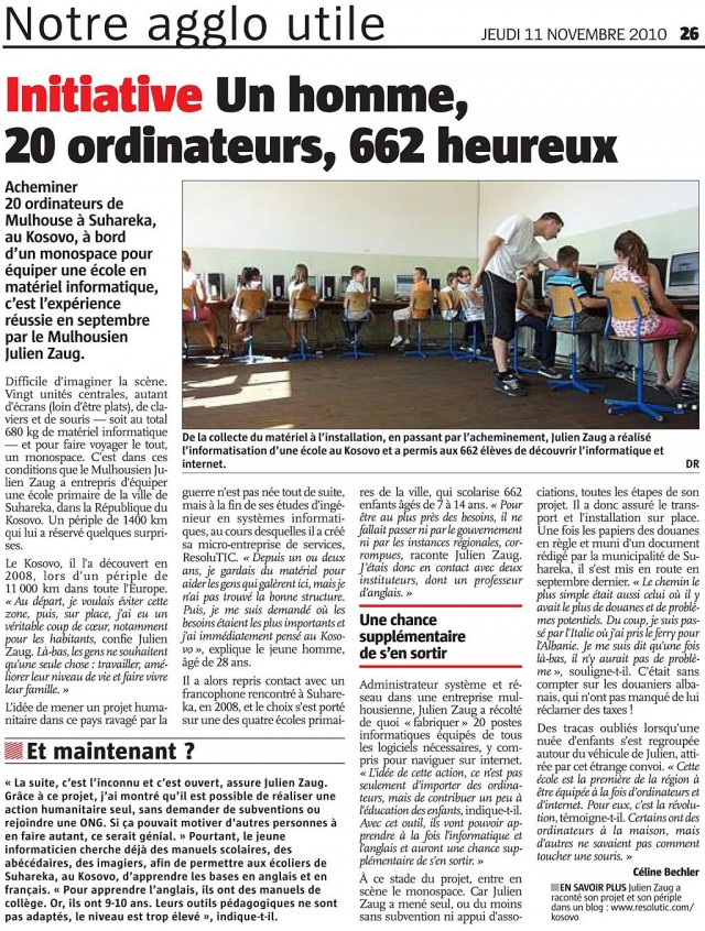 Article presse journal L'Alsace Julien Zaug action humanitaire Kosovo