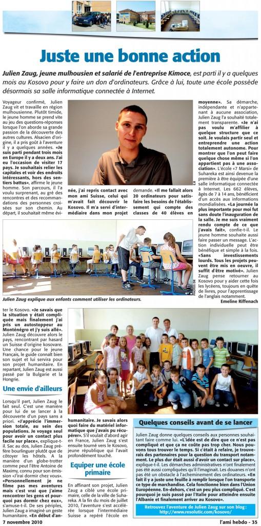 Article projet humanitaire Kosovo Ami Hebdo journal presse Julien Zaug
